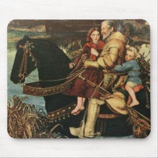 Vintage Artwork Man - Kids Riding Black Horse Mouse Mat