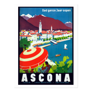 Vintage Ascona Switzerland Travel Postcard