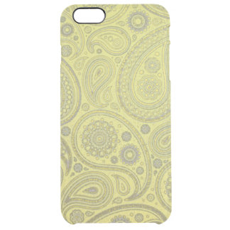 Vintage Ash white paisley on yellow background Clear iPhone 6 Plus Case
