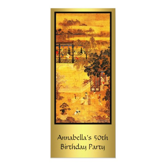 Vintage Asian Art Gold 50th Birthday Card