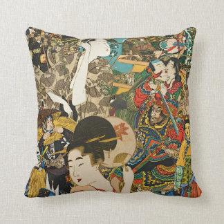 Vintage Asian Collage throw pillow