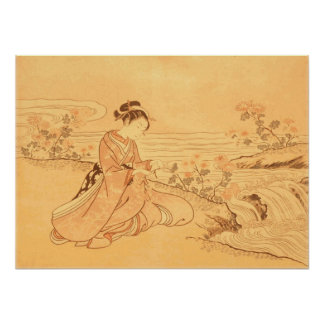 Vintage Asian print Cherry Blossoms by river
