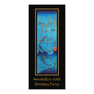 Vintage Asian Sharks Art 50th Birthday 10 Cm X 24 Cm Invitation Card