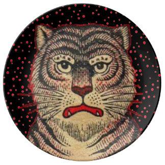 Vintage Asian Striped Fierce Tiger Plate