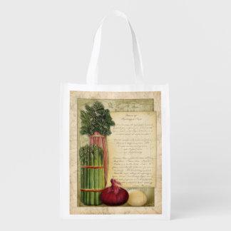Vintage Asparagus Soup recipe, grocery bag