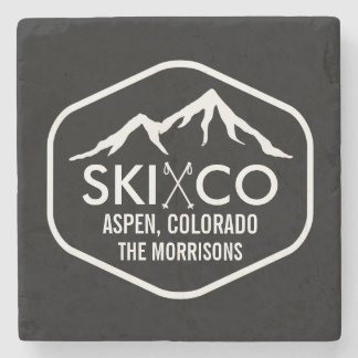 Vintage Aspen Colorado Ski Mountain Custom Drink Stone Coaster