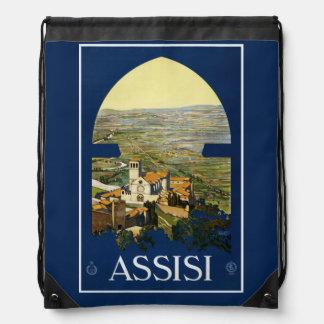 Vintage Assisi Italy backbag Drawstring Bag