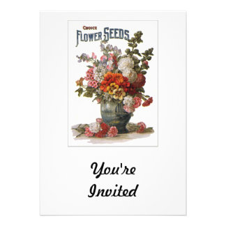 Vintage Assorted Annuals Seed Packet Announcement