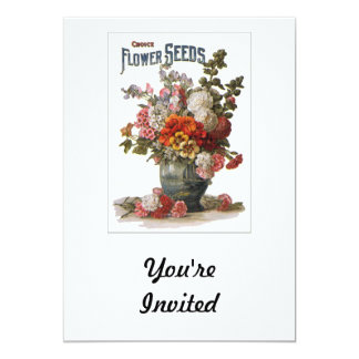 Vintage Assorted Annuals Seed Packet 13 Cm X 18 Cm Invitation Card