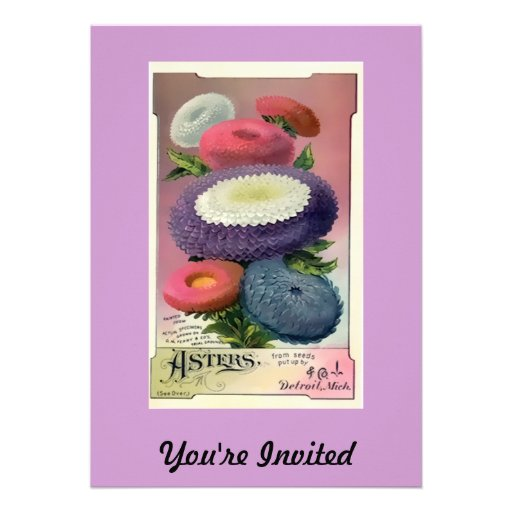 Vintage Assorted Asters Seeds Personalized Announcement
