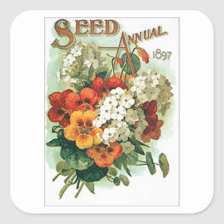 Vintage Assorted Flowers Seed Packet Square Sticker