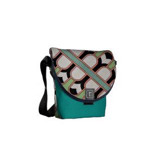 Vintage Assyrian Art Deco Geometric Pattern Mint Messenger Bags