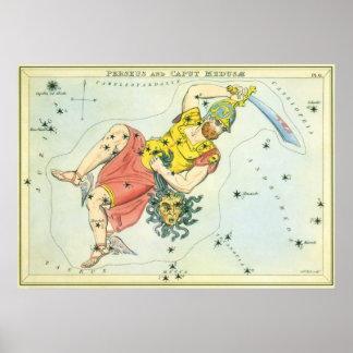 Vintage Astonomy Perseus and Caput Medusa Poster