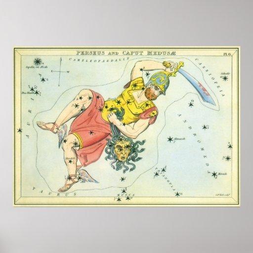 Vintage Astonomy, Perseus and Caput Medusa Poster