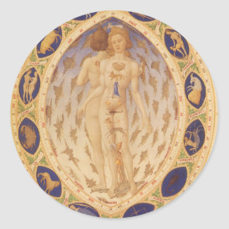Vintage Astrology, Antique Celestial Zodiac Chart Round Sticker