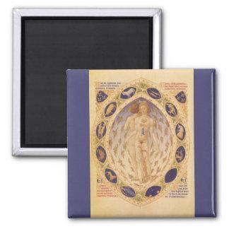 Vintage Astrology, Antique Celestial Zodiac Chart Square Magnet