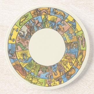 Vintage Astrology, Antique Celestial Zodiac Wheel Beverage Coaster