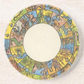 Vintage Astrology, Antique Celestial Zodiac Wheel Sandstone Coaster