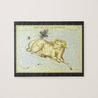 Vintage Astrology Aries Ram Constellation Zodiac Jigsaw Puzzle