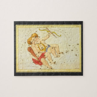 Vintage Astrology Gemini Twin Constellation Zodiac Jigsaw Puzzle