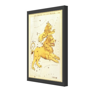 Vintage Astrology Leo Lion Constellation Zodiac Gallery Wrapped Canvas