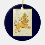 Vintage Astrology Leo Lion Constellation Zodiac Christmas Tree Ornaments