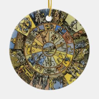Vintage Astrology, Renaisance Zodiac Wheel, 1555 Christmas Ornament