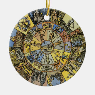 Vintage Astrology, Renaisance Zodiac Wheel, 1555 Round Ceramic Decoration