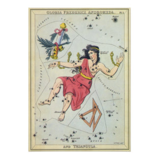 Vintage Astronomy, Andromeda Constellation Stars Poster