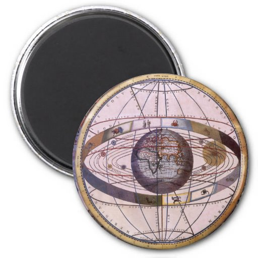 Vintage Astronomy, Antique Ptolemaic Solar System Refrigerator Magnets