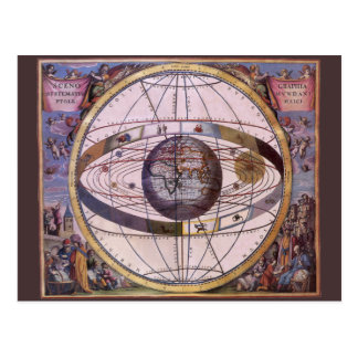 Vintage Astronomy, Antique Ptolemaic Solar System Postcards