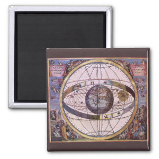 Vintage Astronomy, Antique Ptolemaic Solar System Square Magnet