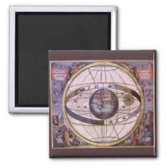Vintage Astronomy, Antique Ptolemaic Solar System Square Magnet