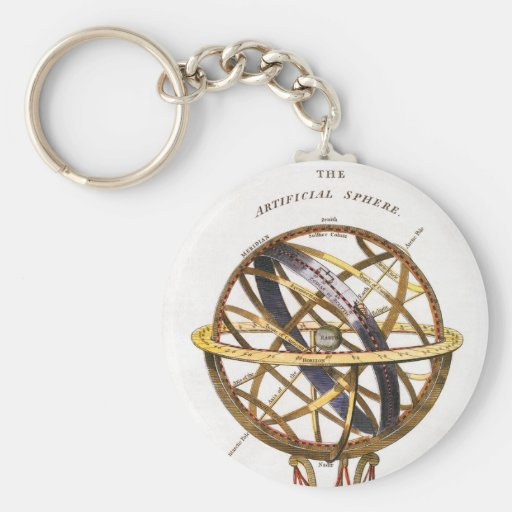 Vintage Astronomy, Artificial Sphere, Earth, Globe Key Chains