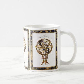 Vintage Astronomy, Artificial Sphere, Earth, Globe Basic White Mug