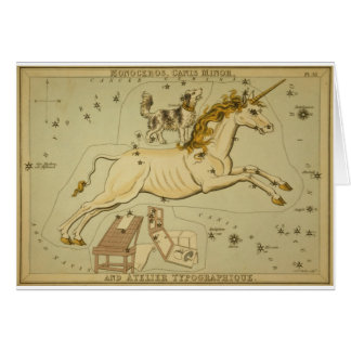 Vintage astronomy astrology Monoceros unicorn Greeting Card