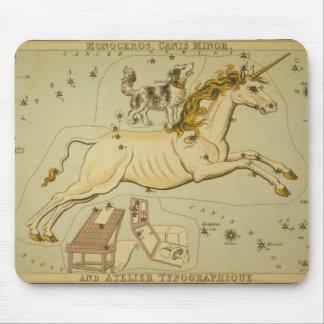 Vintage astronomy astrology Monoceros unicorn Mouse Pad