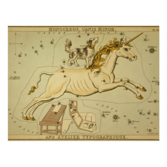 Vintage astronomy astrology Monoceros unicorn Postcard