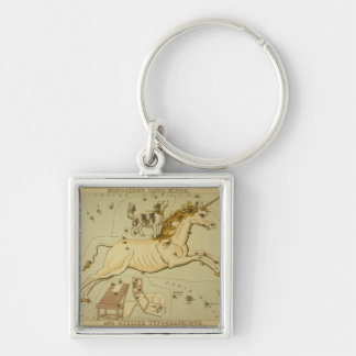 Vintage astronomy astrology Monoceros unicorn Silver-Colored Square Key Ring