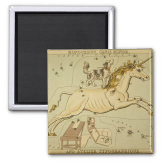 Vintage astronomy astrology Monoceros unicorn Square Magnet