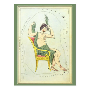 Vintage Astronomy, Cassiopeia Constellation Stars Postcard