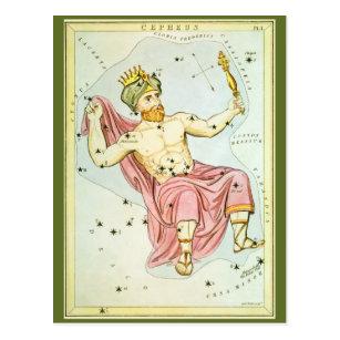 Vintage Astronomy, Celestial Cepheus Constellation Postcard