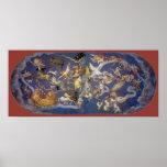 Vintage Astronomy Celestial Constellations Fresco Poster