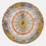 Vintage Astronomy Celestial Copernican Planisphere Round Sticker