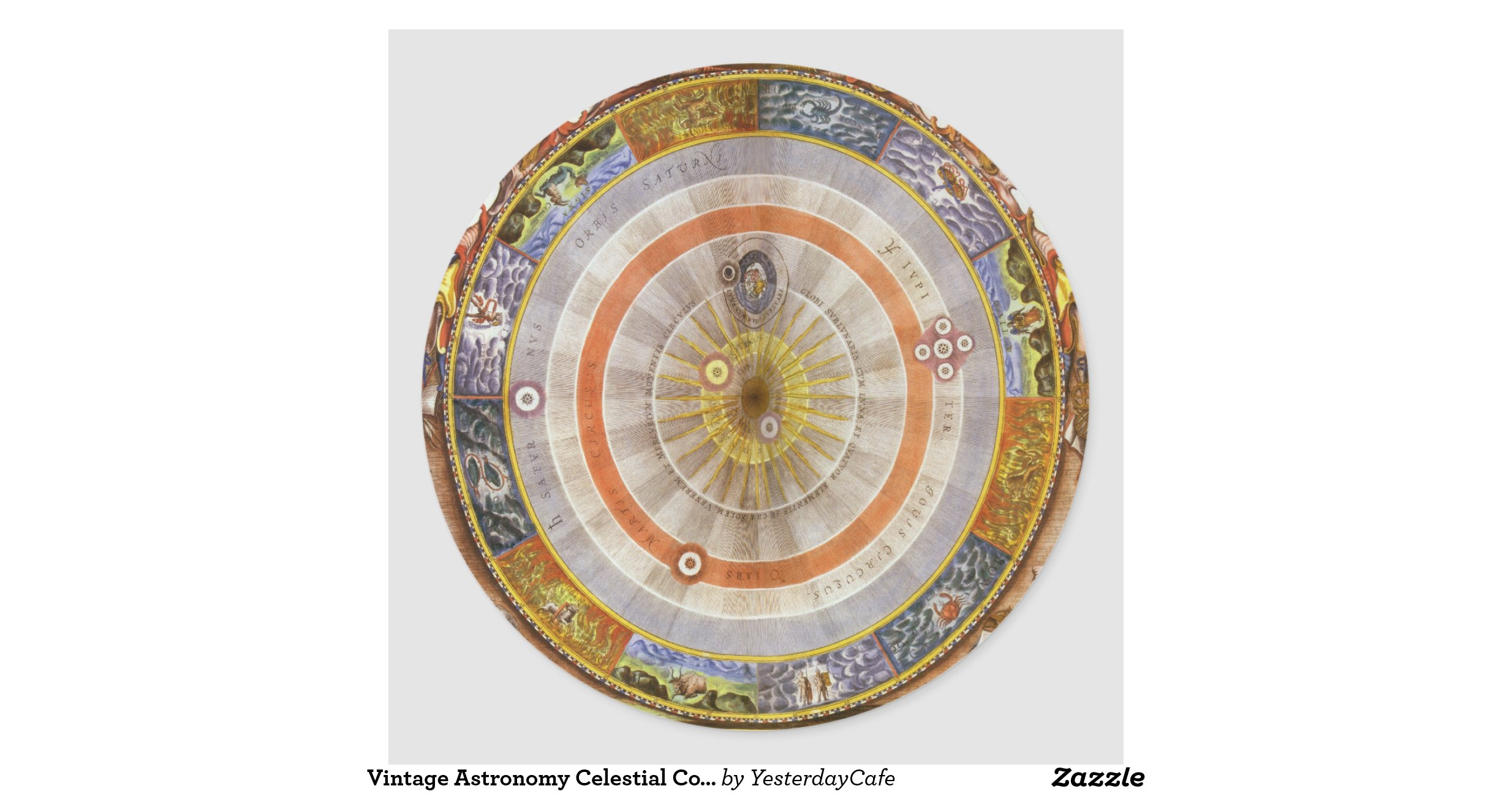 vintage astronomy celestial copernican planisphere round sticker zazzle. Black Bedroom Furniture Sets. Home Design Ideas