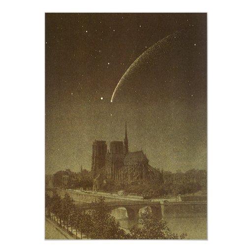 Vintage Astronomy, Celestial, Donati Comet, 1858 5x7 Paper Invitation Card
