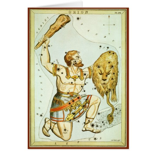 Vintage Astronomy, Celestial, Orion Constellation Cards
