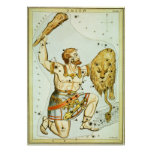Vintage Astronomy, Celestial, Orion Constellation Poster
