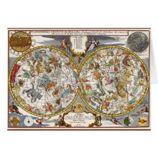 Vintage Astronomy, Celestial Planisphere Map Card