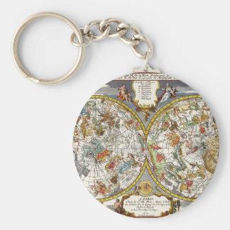 Vintage Astronomy, Celestial Planisphere Map Key Ring